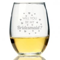 Will You Be My Bridesmaid Heart Stemless Wine Glass (Set of