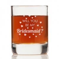 Will You Be My Bridesmaid Heart Rock Glasses (Set of 4)