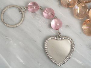 Beaded Chrome Solid Heart Keychain Favor image
