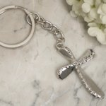 Beaded Chrome Silver Cross Keychain Favor