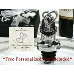 Personalized Two Heart Wine Pourer Bottle Stopper Combo