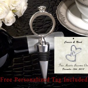 Personalized Bling A Diamond Ring Silver Wine Stopper image