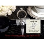 Personalized Bling A Diamond Ring Silver Wine Stopper