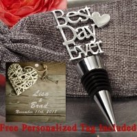 Personalized Our Best Day Ever Chrome Bottle Stopper