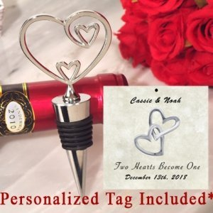 Personalized Classic Two Hearts Become One Bottle Stopper image