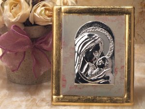 Pink and Gold Art Deco Glass Madonna and Baby Favors image