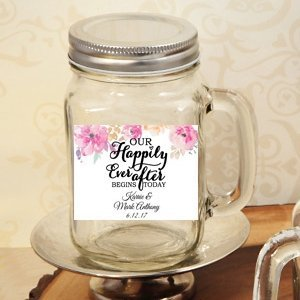 Happily Ever After Personalized 16oz Mason Jar Favor image