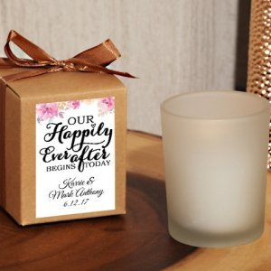 Happily Ever After Kraft Box Personalized Frosted Glass Cand image