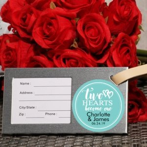 Two Hearts Become One Personalized Luggage Tag Party Favor image