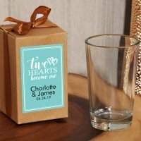Two Hearts Personalized Kraft Gift Box Shot Glass