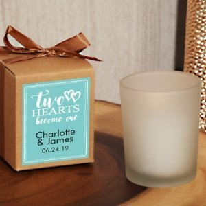 Two Hearts Become One Personalized Frosted Glass Candle Kraf image