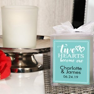 Two Hearts Personalized Frosted Glass Candle Clear Favor Box image
