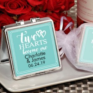 Two Hearts Personalized Compact Mirror Party Favor image