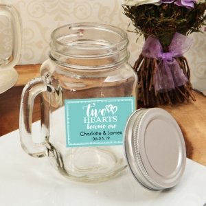 Two Hearts Become One Personalized Mason Jar 16oz. Favor image