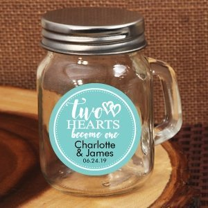 Two Hearts Become One Personalized Mini Mason Jar Favors image