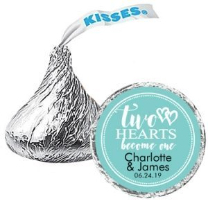 Two Hearts Become One Personalized Hershey's Kisses Favors image