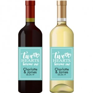 Two Hearts Become One Personalized Wine Sticker Favors image