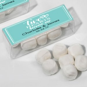 Two Hearts Become One Personalized White Mint Party Favor image