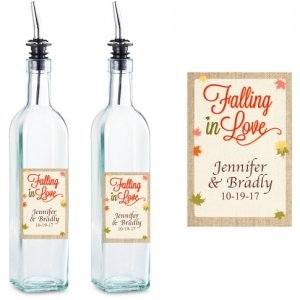 Falling In Love Personalized Glass Olive Oil Bottle Favor image