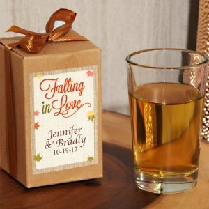 Falling In Love Personalized Shot Glass Favors in Kraft Box image
