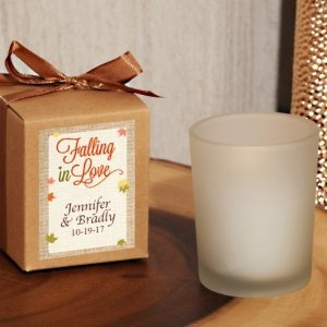 Falling In Love Personalized Frosted Glass Candle Favor in a image