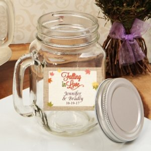 Falling In Love Personalized Mason Jar Drinking Glass Favors image