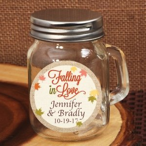 Falling In Love Personalized Mini Mason Jar Glass Favors image