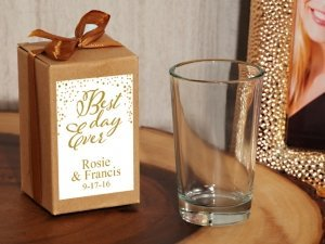 Best Day Ever Personalized Shot Glass Favors in Kraft Box image