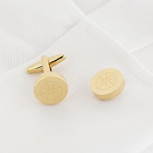 Compass Design Round Cuff Links (Gold or Rose Gold) image