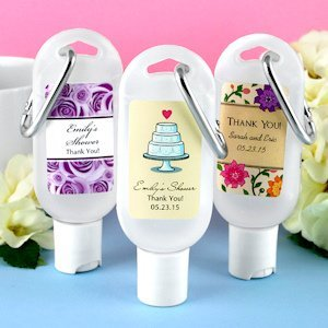Personalized hand sanitizer wedding favors with carabiner for Hand sanitizer bridal shower favors