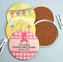 Personalized Round Baby Shower Coasters (3.5-in) image