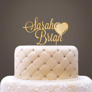 Personalized Wooden Names with Heart Cake Topper image