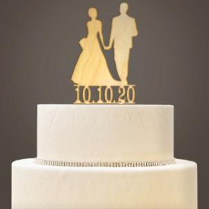 Personalized Wooden Bride & Groom Cake Topper image