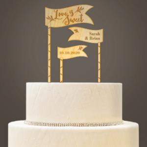 Love is Sweet Wooden Cake Topper Set image