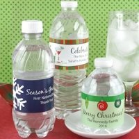 Personalized Holiday Water Bottle Labels (Set of 5)