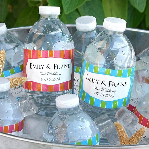 Water Bottle Name Tags: Personalized Wedding Water Bottle Labels (Set Of 5