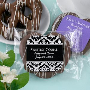 Personalized Chocolate Pretzel Edible Wedding Favors image