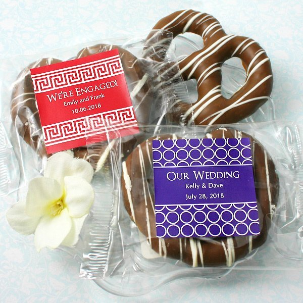 Average Price Of Wedding Gift: Personalized Chocolate Pretzel Edible Wedding Favors