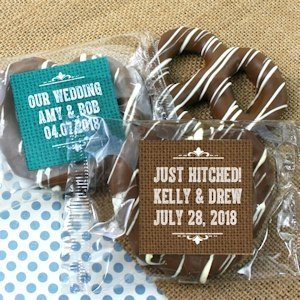 Rustic Design Personalized Chocolate Pretzel Favors image