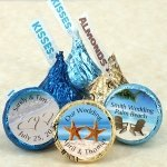 Personalized Hershey's Kiss Beach Themed Wedding Favors