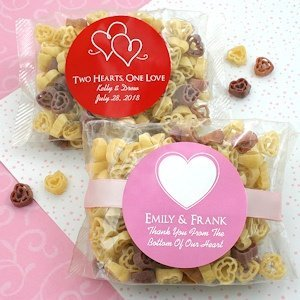 Personalized Wedding Silhouette Heart Shaped Pasta Favors image