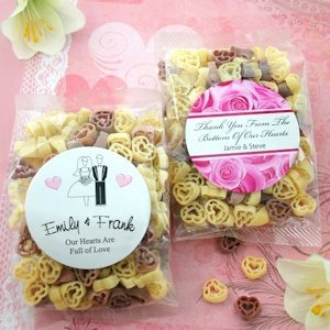 Personalized Heart Shaped Pasta Wedding Favors image