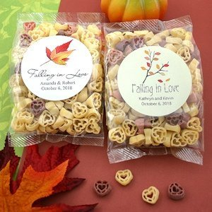 Personalized Fall Design Heart Shaped Pasta Favors image
