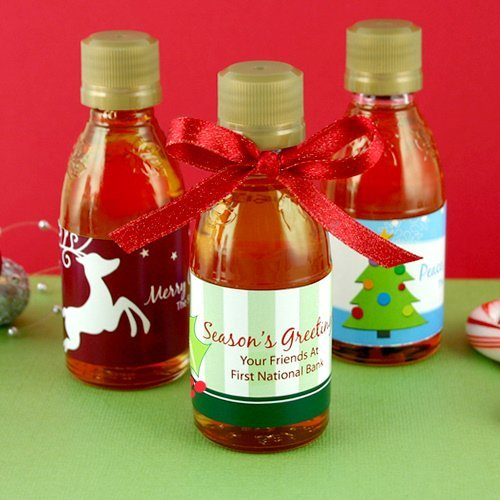 Do You Buy A Gift For A Destination Wedding: Personalized Holiday Maple Syrup Favors