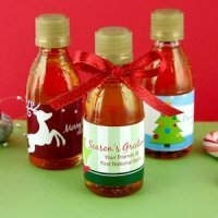 Personalized Holiday Maple Syrup Favors