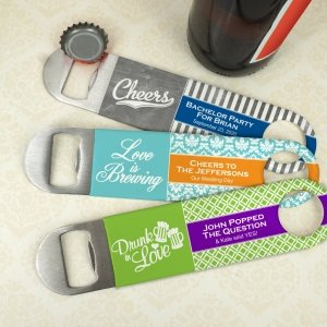 Personalized Vinyl Grip Stainless Steel Paddle Bottle Opener image