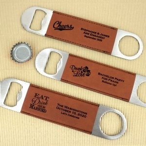 Personalized Brown Faux Leather Paddle Bottle Openers image