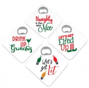 Naughty Holiday Sayings Bottle Opener Coasters (Set of 4) image