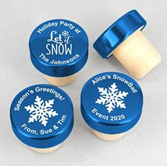 Holiday Personalized Blue Aluminum Top Bottle Stopper image