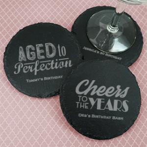 Adult Birthday Round Slate Coasters image